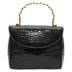 Judith Leiber Black Alligator Handbag