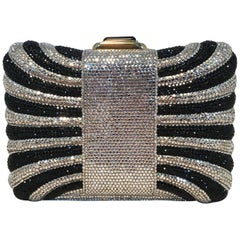 Judith Leiber Black and Silver Swarovski Crystal Minaudiere Evening Bag Clutch