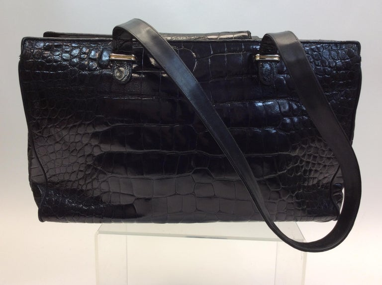 Judith Leiber Black Crocodile Shoulder Bag In Good Condition For Sale In Narberth, PA