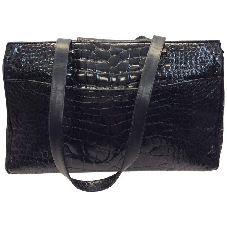 Judith Leiber Black Crocodile Shoulder Bag For Sale
