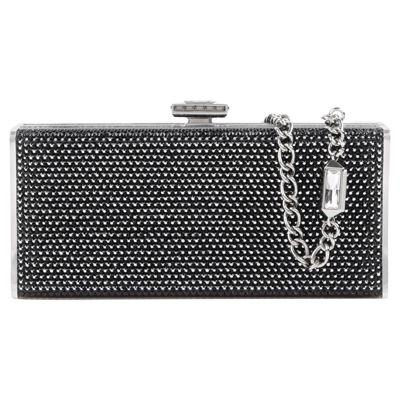 JUDITH LEIBER Black Crystal Embellished Chain Handle Minaudiere Box Clutch NWT