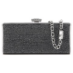 JUDITH LEIBER Black Crystal Embellished Chain Handle Minaudiere Box Clutch NWT