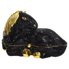 Judith Leiber Black Crystal Hard Shell Pony Minaudiere