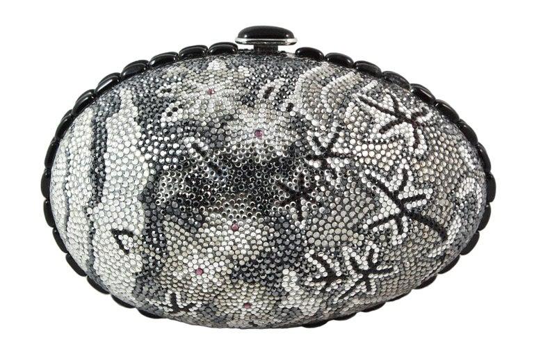Women's Judith Leiber Black Grey and Silver Rhinestone Egg Clutch For Sale