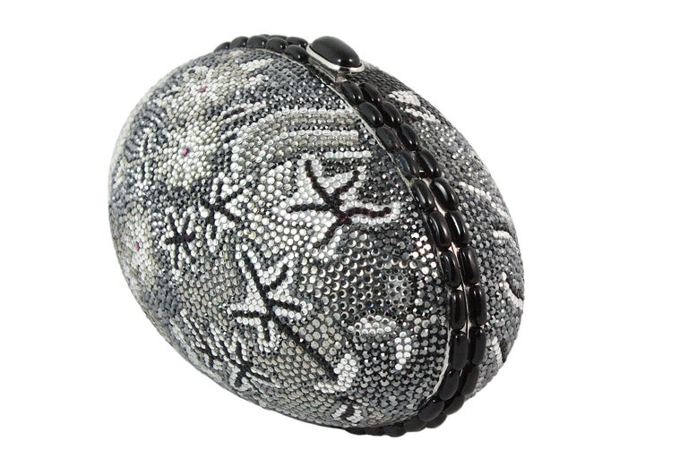 Judith Leiber Black Grey and Silver Rhinestone Egg Clutch For Sale 1