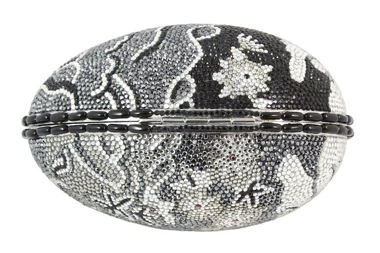 Judith Leiber Black Grey and Silver Rhinestone Egg Clutch For Sale 2