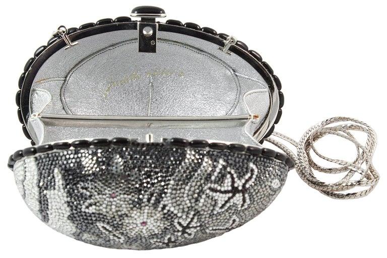 Judith Leiber Black Grey and Silver Rhinestone Egg Clutch For Sale 3