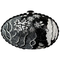 Judith Leiber Black Grey and Silver Rhinestone Egg Clutch