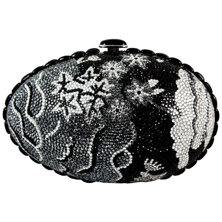 Judith Leiber Black Grey and Silver Rhinestone Egg Clutch For Sale