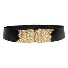 Judith Leiber Black Lizard Belt with Swirl Buckle Encrusted W/ Clear Crystals