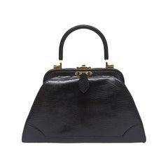 Judith Leiber Black Lizard Kelly Handbag