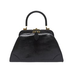 Judith Leiber Black Lizard Kelly Handbag
