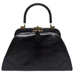 Judith Leiber Black Lizard Kelly Handbag Vintage