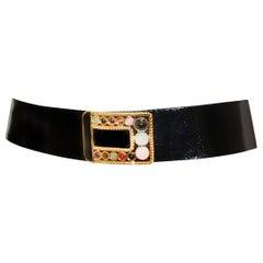 Judith Leiber Black Reptile Belt W/ Gold Tone Buckle Adorned Cabochon Stones