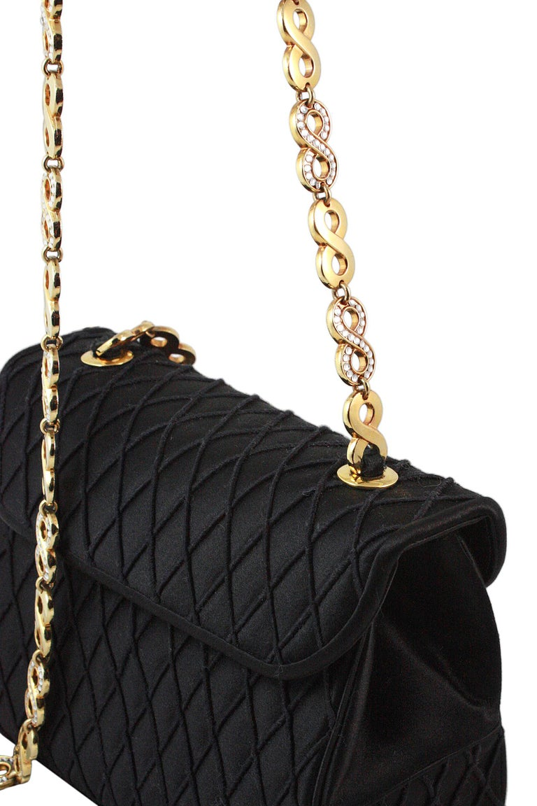 Women's Judith Leiber Black Satin Crossbody Bag with Gold Infinity Chain For Sale