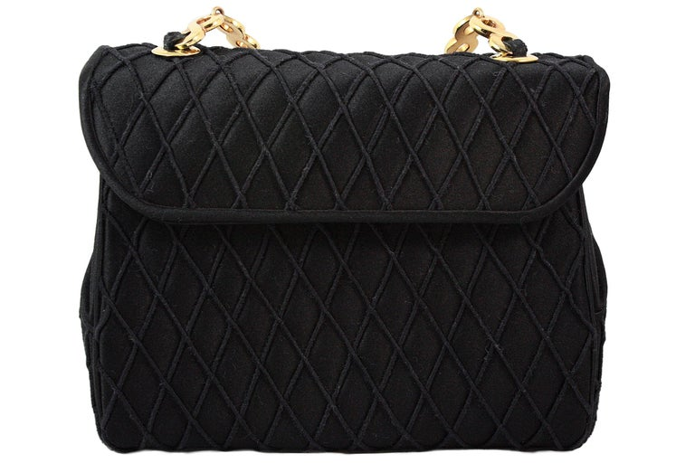 Judith Leiber Black Satin Crossbody Bag with Gold Infinity Chain For Sale 1