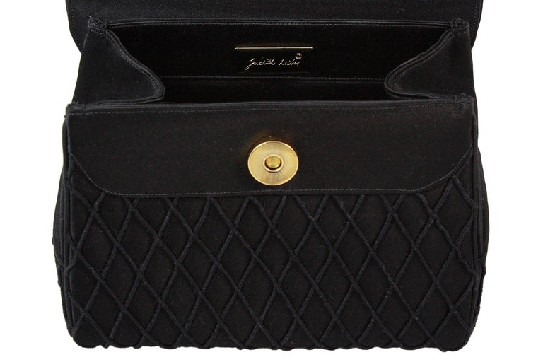 Judith Leiber Black Satin Crossbody Bag with Gold Infinity Chain For Sale 3