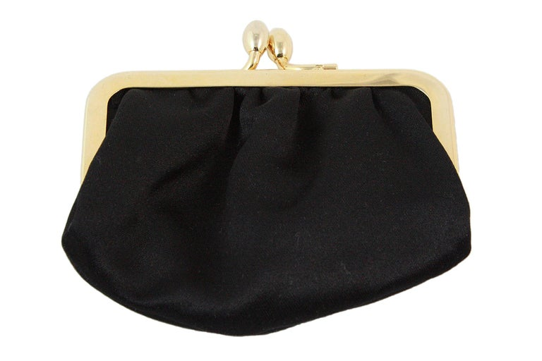 Judith Leiber Black Satin Crossbody Bag with Gold Infinity Chain For Sale 5