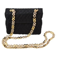 Judith Leiber Black Satin Crossbody Bag with Gold Infinity Chain