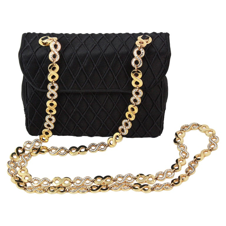 Judith Leiber Black Satin Crossbody Bag with Gold Infinity Chain For Sale