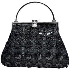 Judith Leiber Black Satin Embroidered & Sequin Evening Bag
