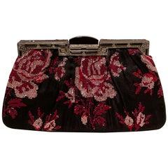 Judith Leiber Black Silk Rose Swarovski Crystal Evening Bag Clutch