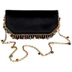 Judith Leiber Black Silk Semiprecious stones Gold Chain Bag Clutch