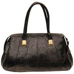Judith Leiber Black Snake Skin Bag W/ Gold Details