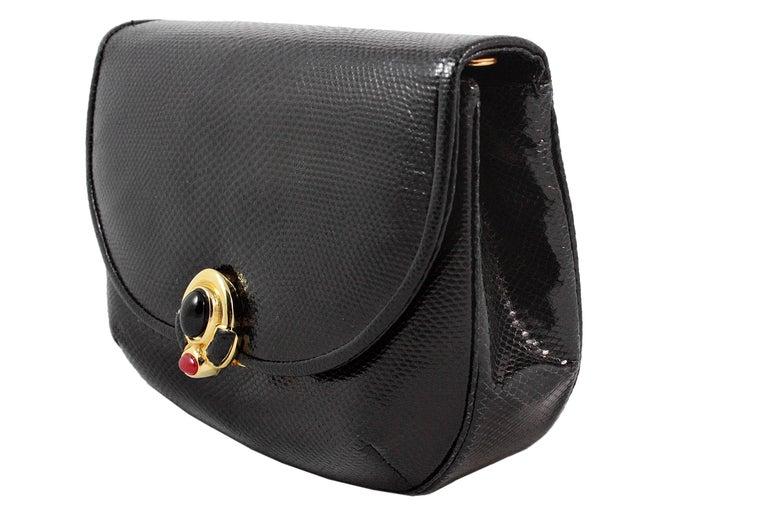 Women's Judith Leiber Black Snakeskin Leather Clutch with Fringe Tassel For Sale