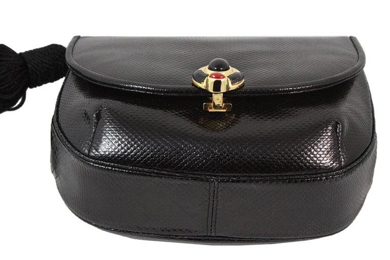 Judith Leiber Black Snakeskin Leather Clutch with Fringe Tassel For Sale 1