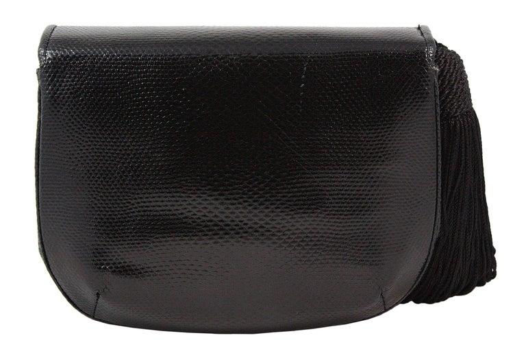 Judith Leiber Black Snakeskin Leather Clutch with Fringe Tassel For Sale 2
