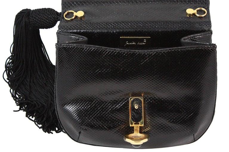 Judith Leiber Black Snakeskin Leather Clutch with Fringe Tassel For Sale 3