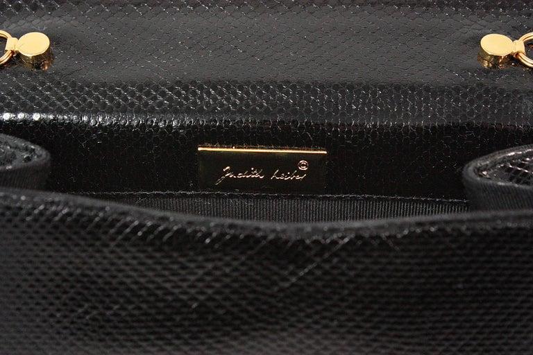 Judith Leiber Black Snakeskin Leather Clutch with Fringe Tassel For Sale 4