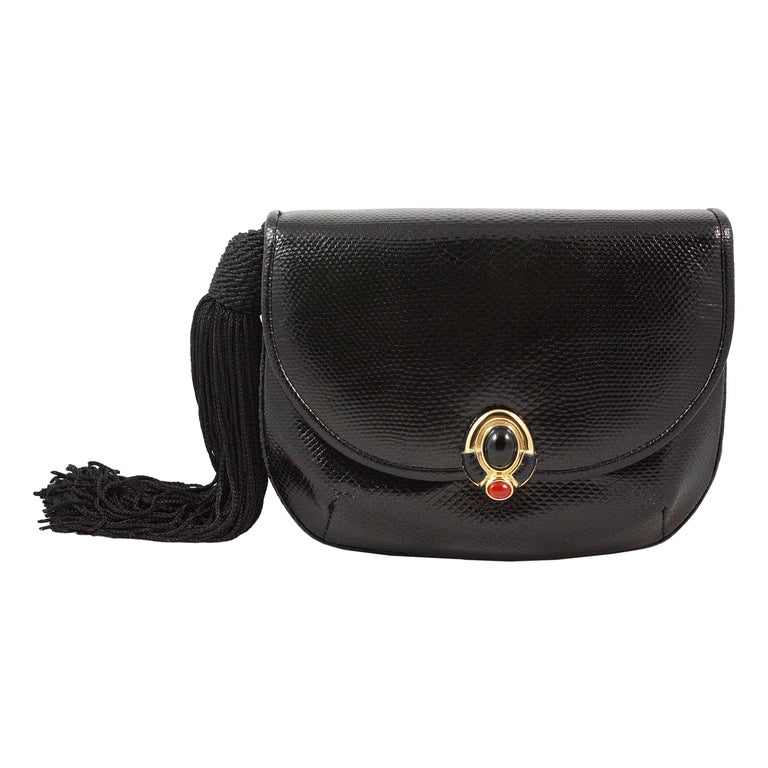 Judith Leiber Black Snakeskin Leather Clutch with Fringe Tassel For Sale
