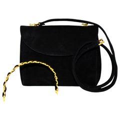 Judith Leiber Black Suede Karung W/ Structured Top Handle Bag