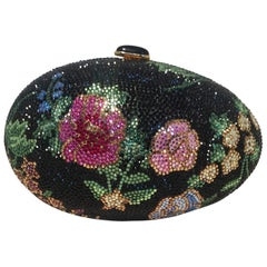 Judith Leiber Black Swarovski Crystal Floral Print Faberge Egg Minaudiere