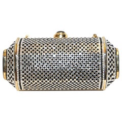 Judith Leiber Black & White (Clear) Crystal Minaudiere With Gold Tone Frame