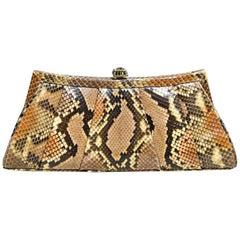 Judith Leiber Brown/Beige Python Pleated Clutch Bag