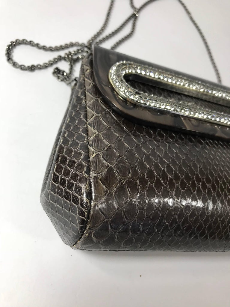 Judith Leiber Brown Python Cross Body Bag For Sale 5