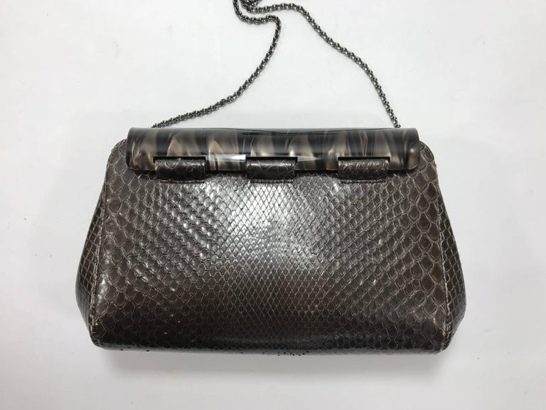 Black Judith Leiber Brown Python Cross Body Bag For Sale