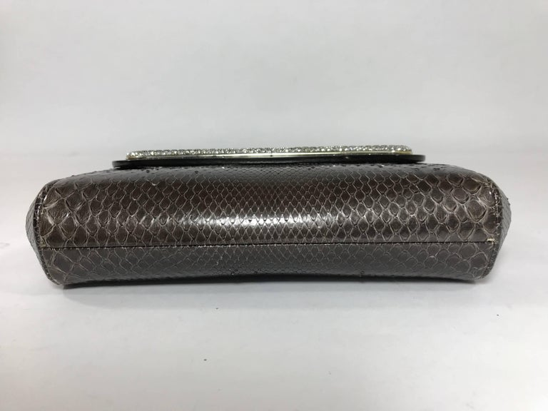Judith Leiber Brown Python Cross Body Bag In Good Condition For Sale In Saint Charles, IL