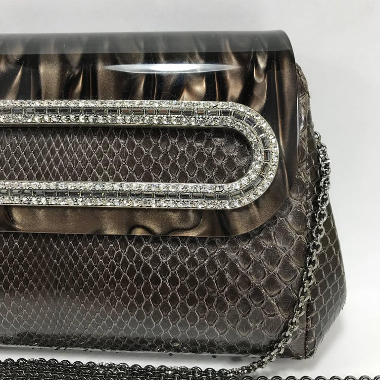Women's or Men's Judith Leiber Brown Python Cross Body Bag For Sale