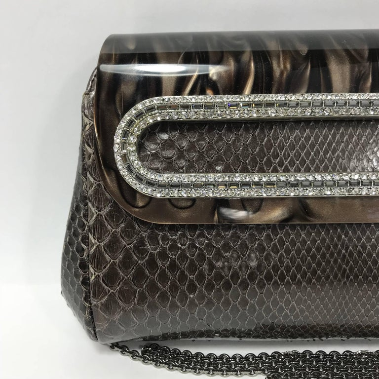 Judith Leiber Brown Python Cross Body Bag For Sale 1