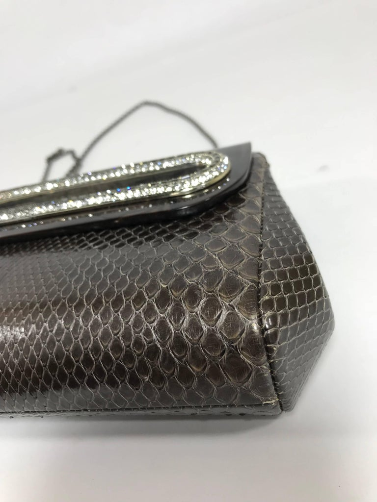 Judith Leiber Brown Python Cross Body Bag For Sale 4