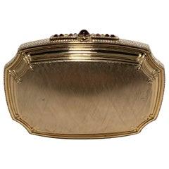 Judith Leiber Brushed Gold Swarovski Crystal Minaudiere