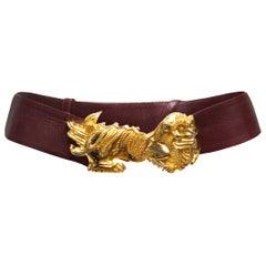 Judith Leiber Burgundy Leather Dragon Buckle Belt