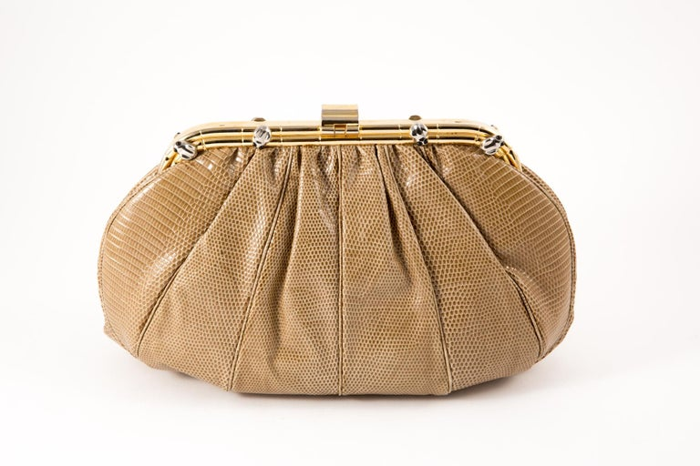 Brown Judith Leiber Camel Leather Evening Frogs Clutch For Sale