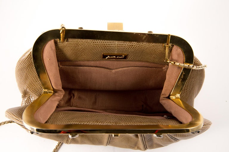 Women's Judith Leiber Camel Leather Evening Frogs Clutch For Sale