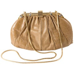 Judith Leiber Camel Leather Evening Frogs Clutch
