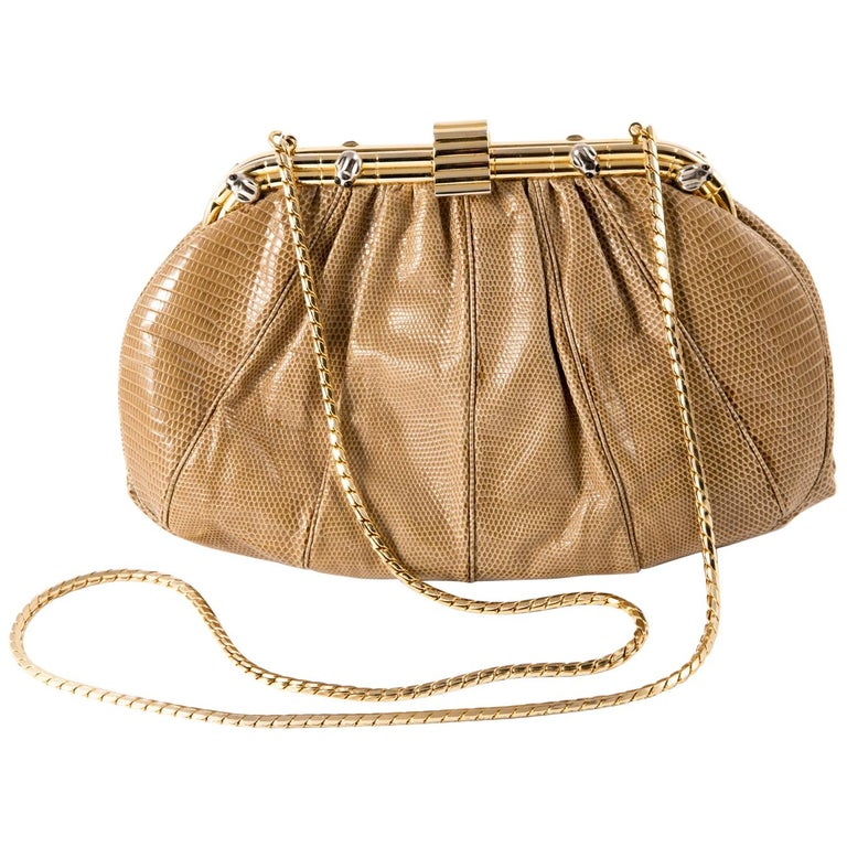 Judith Leiber Camel Leather Evening Frogs Clutch For Sale